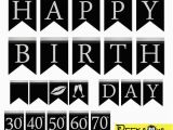 Free Happy Birthday Banner Printable Black and White Instant Download Black Silver Birthday Banners Printable