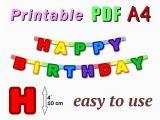 Free Happy Birthday Banner Printable Pdf Items Similar to Printable Happy Birthday Banner Pdf A4