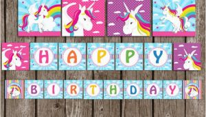 Free Happy Birthday Banner Printable Unicorn Unicorn Rainbow Banner Instant Download Unicorn Birthday