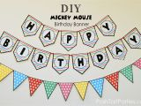 Free Happy Birthday Banner to Print A Mickey and Minnie Mouse Party Free Printable Happy
