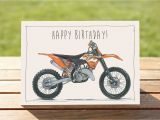 Free Motorcycle Birthday Cards Motorcycle Birthday Card Ktm 125sx Dirt Bike A6 6