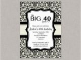 Free Printable 40th Birthday Invitations 40th Birthday Invitation Damask Cream and Black