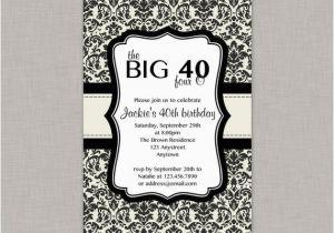 Free Printable 40th Birthday Invitations 40th Birthday Invitation Damask Cream and Black