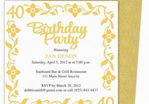 Free Printable 40th Birthday Invitations 40th Party Invitation Template Free