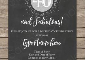 Free Printable 40th Birthday Party Invitation Templates Chalkboard Invitations Template
