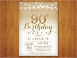 Free Printable 90th Birthday Invitations 90th Birthday Invitation Gold and White String Lights 70th