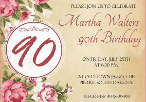 Free Printable 90th Birthday Invitations Invitation Wording 365greetings Com