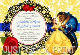 Free Printable Beauty and the Beast Birthday Invitations Beauty and the Beast Bridal Shower or Birthday Invitation