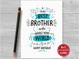 Free Printable Birthday Cards for Brother Printable Birthday Card for Brother to the Best Brother In