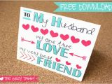 Free Printable Birthday Cards for My Husband Freebie Printable Card to My Husband A Love Note Card
