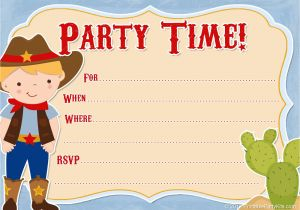 Free Printable Cowboy Birthday Invitations Western Party