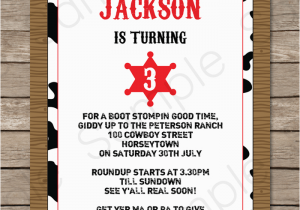 Free Printable Cowboy Birthday Invitations Western Party