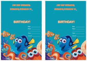 Free Printable Finding Nemo Birthday Invitations Dory