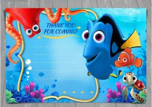 Free Printable Finding Nemo Birthday Invitations Dory Thank You Card Instant Download