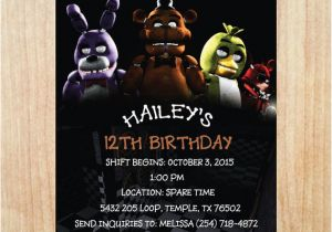 Free Printable Five Nights at Freddy S Birthday Invitations Printable Five Nights at Freddy 39 S Invitation Five Nights