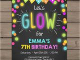 Free Printable Glow In the Dark Birthday Party Invitations Neon Glow Party Invitation Glow Birthday Invitation Glow In