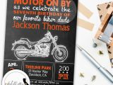 Free Printable Harley Davidson Birthday Cards Harley Davidson Birthday Party Invitation Chalkboard