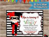 Free Printable Harley Quinn Birthday Invitations Dc Villain Girls Birthday Invitation Harley Quinn Invite
