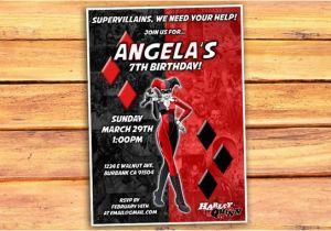Free Printable Harley Quinn Birthday Invitations Invitation By