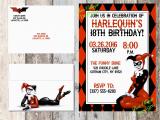Free Printable Harley Quinn Birthday Invitations Harley Quinn Invitation Birthday Baby Shower Dc Comics