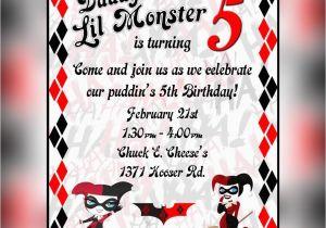Free Printable Harley Quinn Birthday Invitations Invitation By Arctcdesigns On Etsy BirthdayBuzz