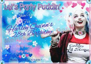 Free Printable Harley Quinn Birthday Invitations Party Invitation Digital File Customized