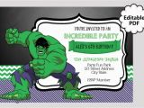 Free Printable Hulk Birthday Invitations Editable Text Hulk Birthday Invitation Hulk Party Invites