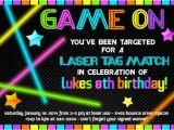 Free Printable Laser Tag Birthday Party Invitations Laser Tag Birthday Invitation Neon Glow In the Dark