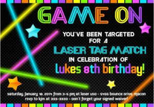Free Printable Laser Tag Birthday Party Invitations Invitation Neon Glow In The Dark