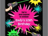 Free Printable Laser Tag Birthday Party Invitations Laser Tag Girl Birthday Invitation Printable or Printed with