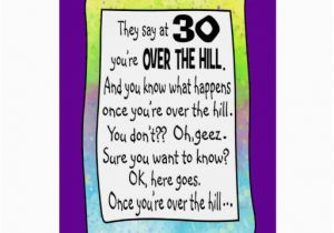 Free Printable Over the Hill Birthday Cards 30th Birthday Over the Hill Greeting Card Zazzle