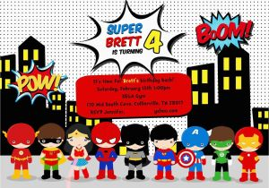 Free Printable Superhero Birthday Cards Party Invitation Templates