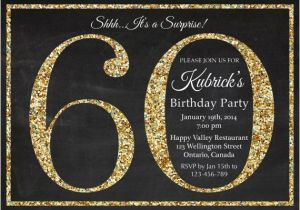 Free Printable Surprise 60th Birthday Invitations Invitation Gold Glitter Party