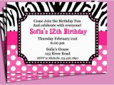 Free Printable Zebra Print Birthday Invitations Zebra Print Pink Polka Dot Invitation Printable or Printed