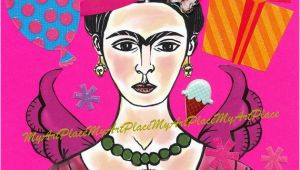 Frida Kahlo Birthday Card Frida Kahlo Art original Collage Frida Celebrates by