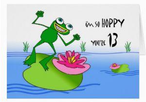Funny 13th Birthday Cards Hoppy Thirteenth 13th Birthday Funny Frog at Pond Card
