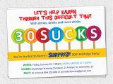 Funny 30th Birthday Invites 30 Sucks Birthday Party Invitations Suckers Lollipops