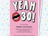 Funny 30th Birthday Invites 30th Birthday Invitation Sassy Yeah 30 Lips Editable