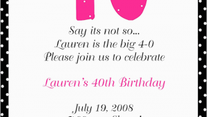 Funny 40th Birthday Invitation Wording Samples 40th Birthday Party Invitation Wording Free Printable