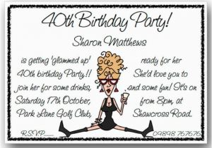 Funny 40th Birthday Invitation Wording Samples Party Dolanpedia