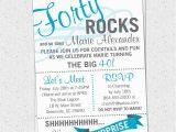 Funny 40th Birthday Invitation Wording Samples Printable forty Rocks Birthday Party Bash Invitation