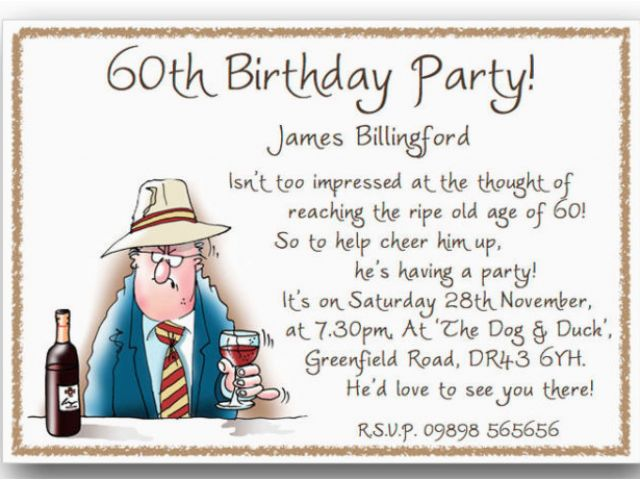 Funny 60th Birthday Party Invitations Humorous Quotes 80th