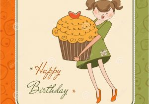 Funny Birthday Cards For Girls Card With Girl And Cupcake Stock Image