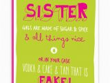 Funny Birthday Cards for Sisters Sister Sugar Spice Birthday Card Brainboxcandy Com