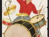 Funny Drummer Birthday Cards Vintage Drum Set Hound Dog Greeting Card Old Stock