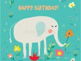 Funny Elephant Birthday Card Birthday Card for Kids with Elephant and Flowers Funny