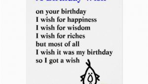 Funny Poems for Birthday Cards A Birthday Wish A Funny Birthday Poem Card Zazzle