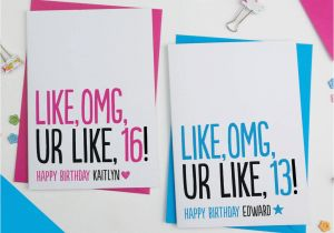 Funny Teenage Birthday Cards Teenager Birthday Card Personalised by A is for Alphabet