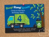 Garbage Truck Birthday Invitations Garbage Recycle Truck Birthday Party Personalized Printable