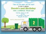 Garbage Truck Birthday Invitations Garbage Truck Birthday Invitations Recycling Party Garbage